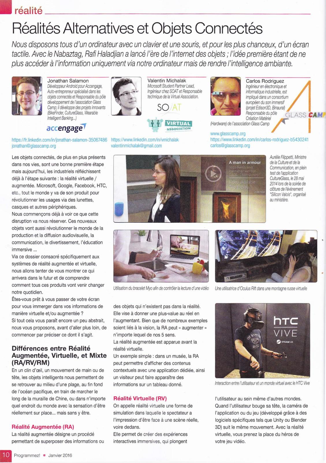 Dossier écrit par Jonathan Salamon sur les réalités alternatives dans le numéro de janvier 2016 du magazine Programmez!
