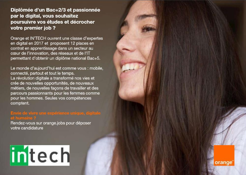 intech et orange s'associent pour feminiser promotions alternants